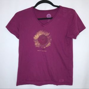 Life is good v neck sunflower t shirt